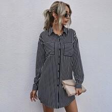 Shirt Kleid mit Streifen und gebogenem Saum