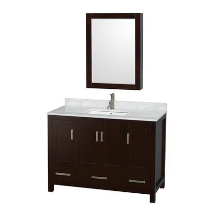 WCS141448SESCMUNSMED 48 in. Single Bathroom Vanity in Espresso  White Carrera Marble Countertop  Undermount Square Sink  and Medicine