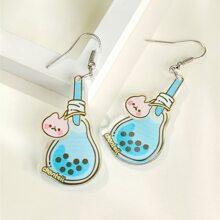 Bubble Tea Cup Charm Drop Earrings