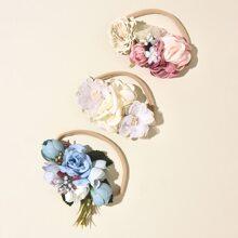 3 Stuecke Baby Kopfband mit Blumen Dekor