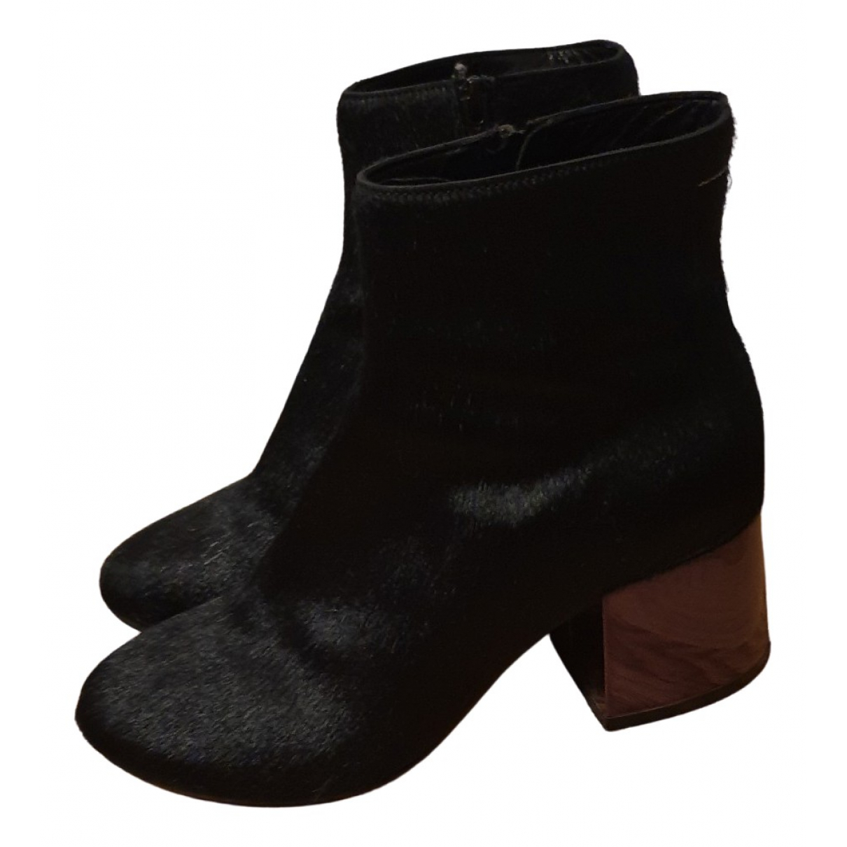 Mm6 N Black Pony-style calfskin Ankle boots for Women 38.5 EU