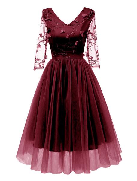 Milanoo Vestido vintage de mujer Vestido de fiesta con cuello en V Vestido retro de tul con manga ilusion Vestido retro