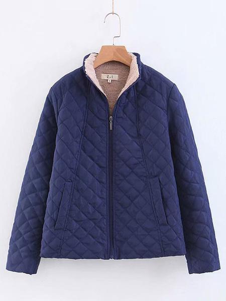 Milanoo Women\s Jackets Casual Dating Black Cotton Jacket Winter Outerwear