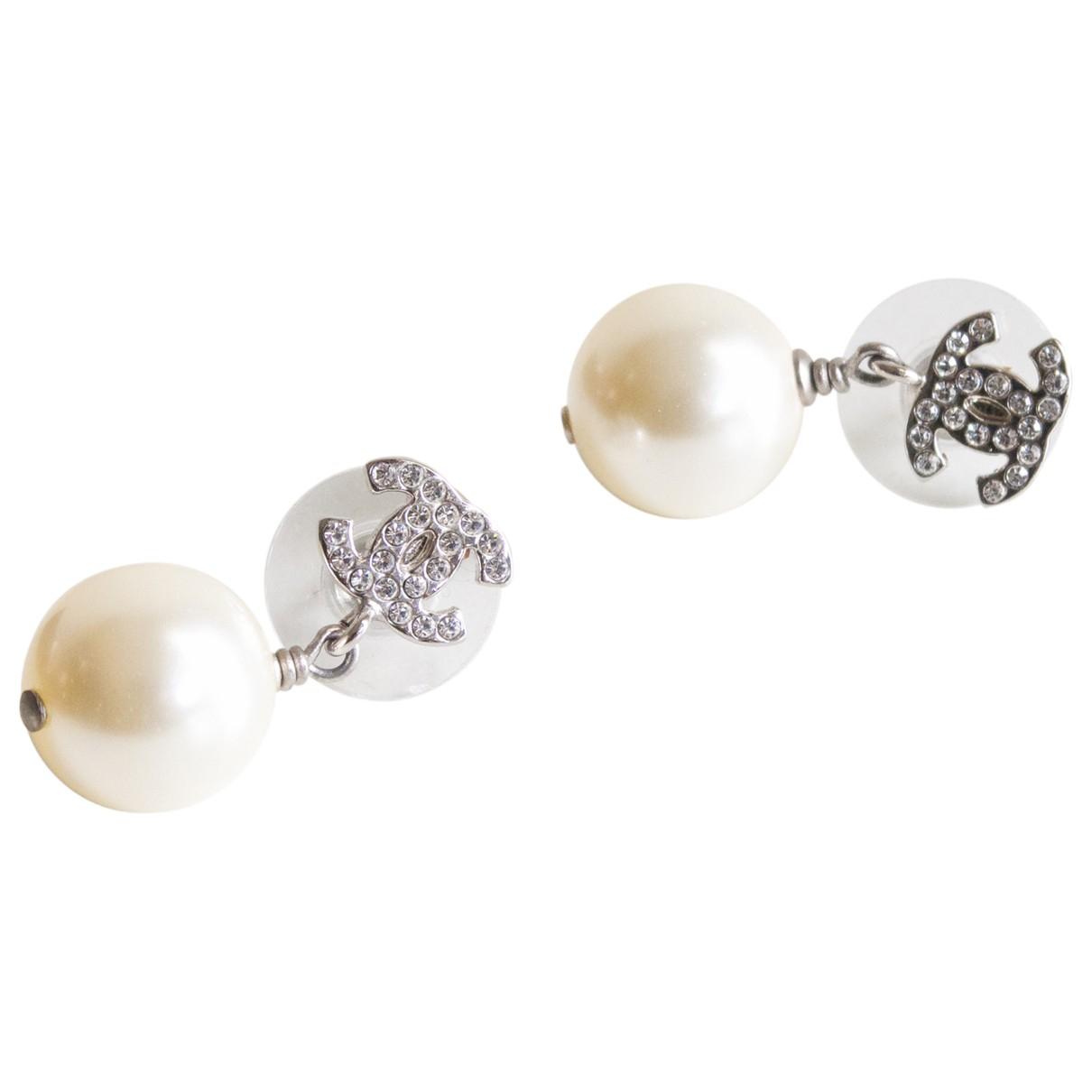 Chanel - Boucles doreilles CC pour femme en perles - argente