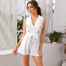 Zip Back Double Button Belted Romper
