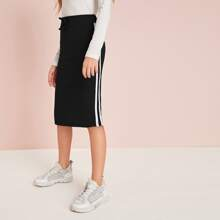 Girls Contrast Striped Tape Detail Rib-knit Pencil Skirt