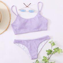 Plain Glitter Bikini Swimsuit