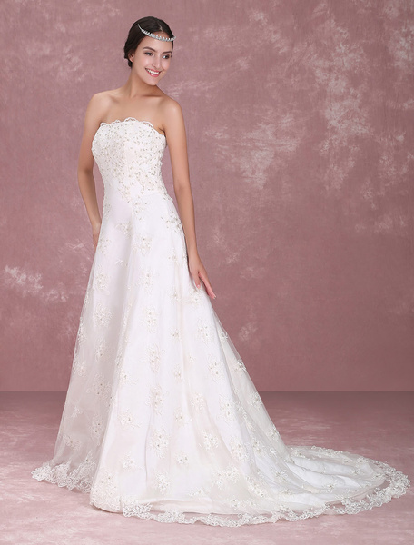 Milanoo White Sweet Heart Embroidery Wedding Dress