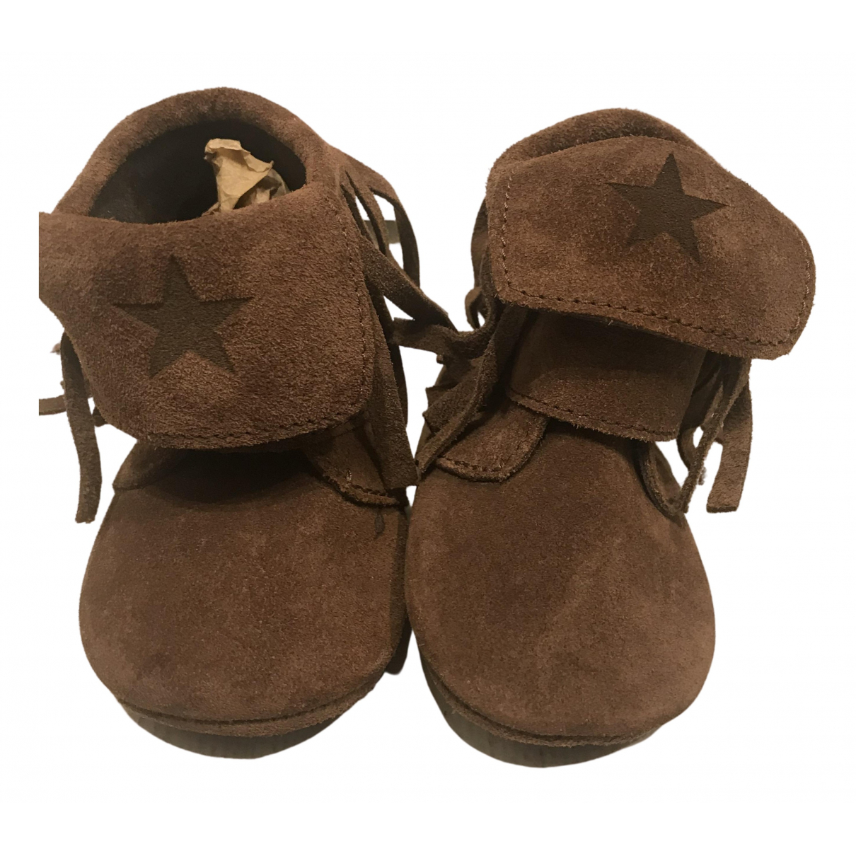 Tocoto Vintage N Brown Leather Slippers for Kids 18 FR