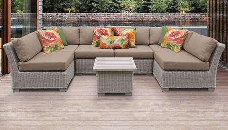 Coast Collection COAST-07c-WHEAT 7-Piece Patio Set 07c with 2 Corner Chair   4 Armless Chair   1 End Table - Beige and Wheat
