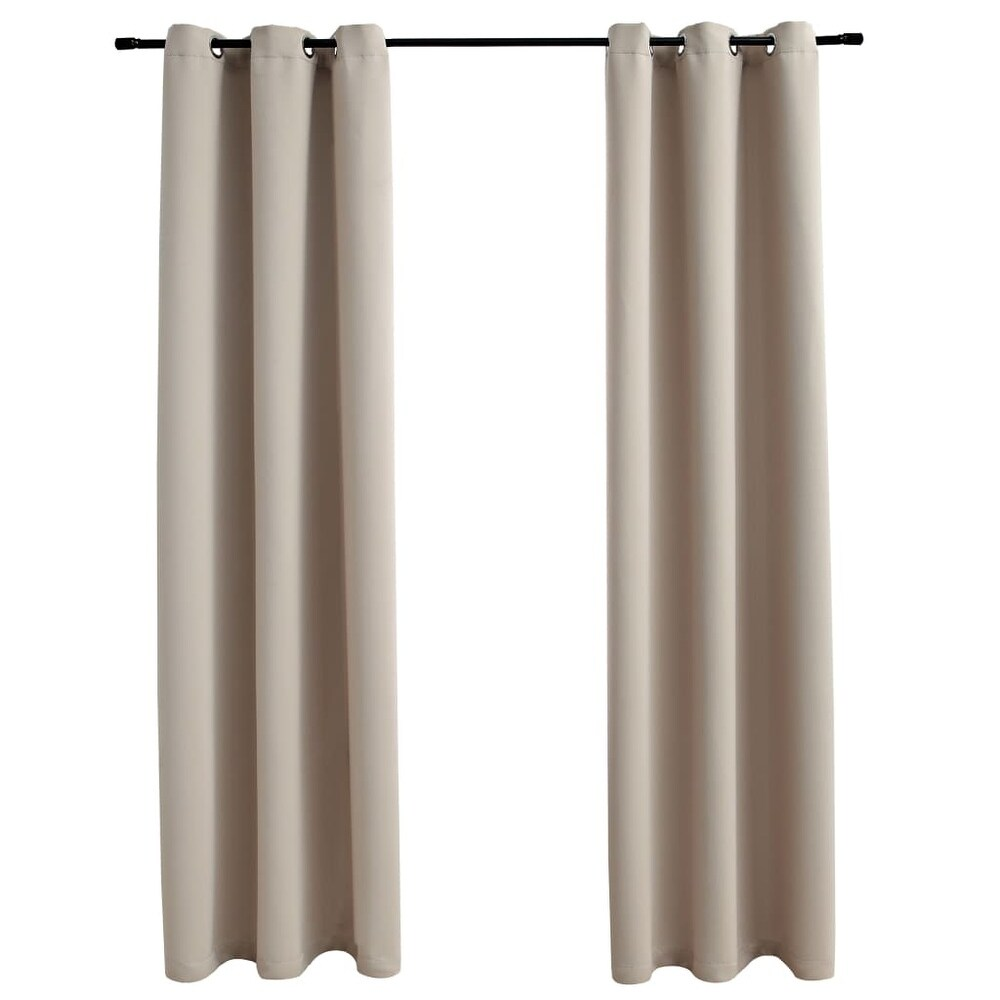 vidaXL Blackout Curtains with Rings 2 pcs Beige 37