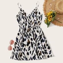 Leopard Print Wrap Blouson Slip Dress