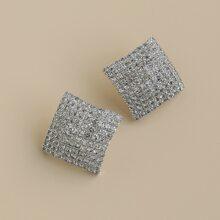 Rhinestone Square Design Stud Earrings