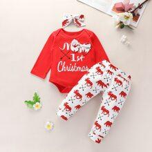 Baby Girl 3pcs Slogan Graphic Bodysuit & Sweatpants & Headband