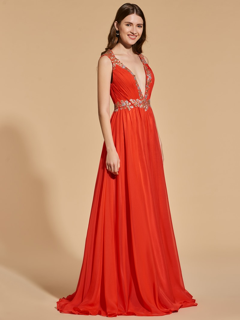 Ericdress A Line V Neck Sequin Pleats Backless Prom Dress