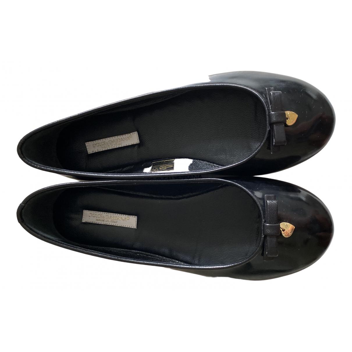 Dolce & Gabbana N Black Leather Ballet flats for Kids 34 FR