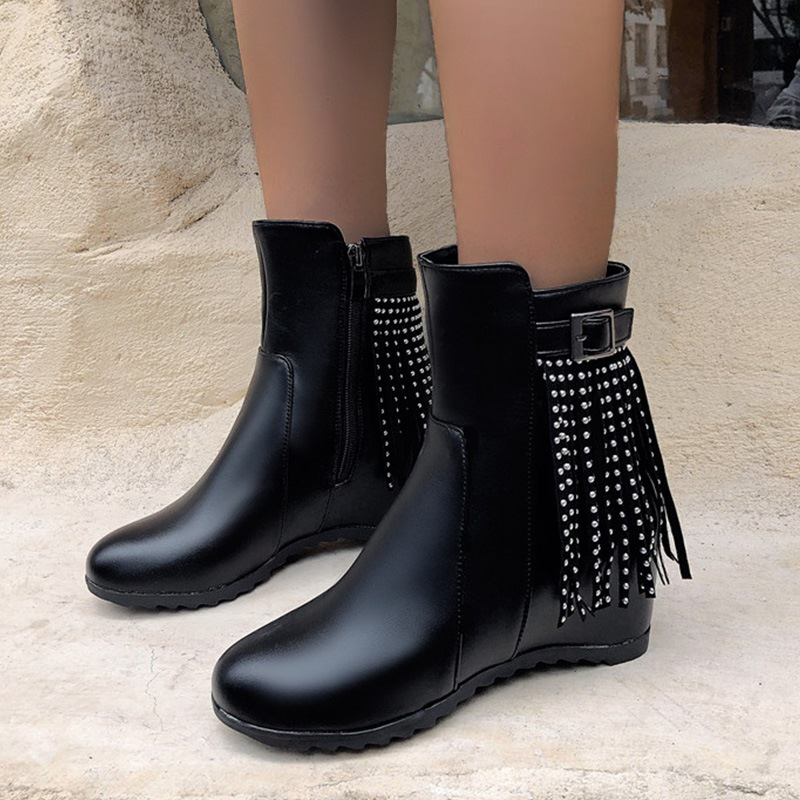 Ericdress Side Zipper Round Toe Hidden Elevator Heel Fringe Boots