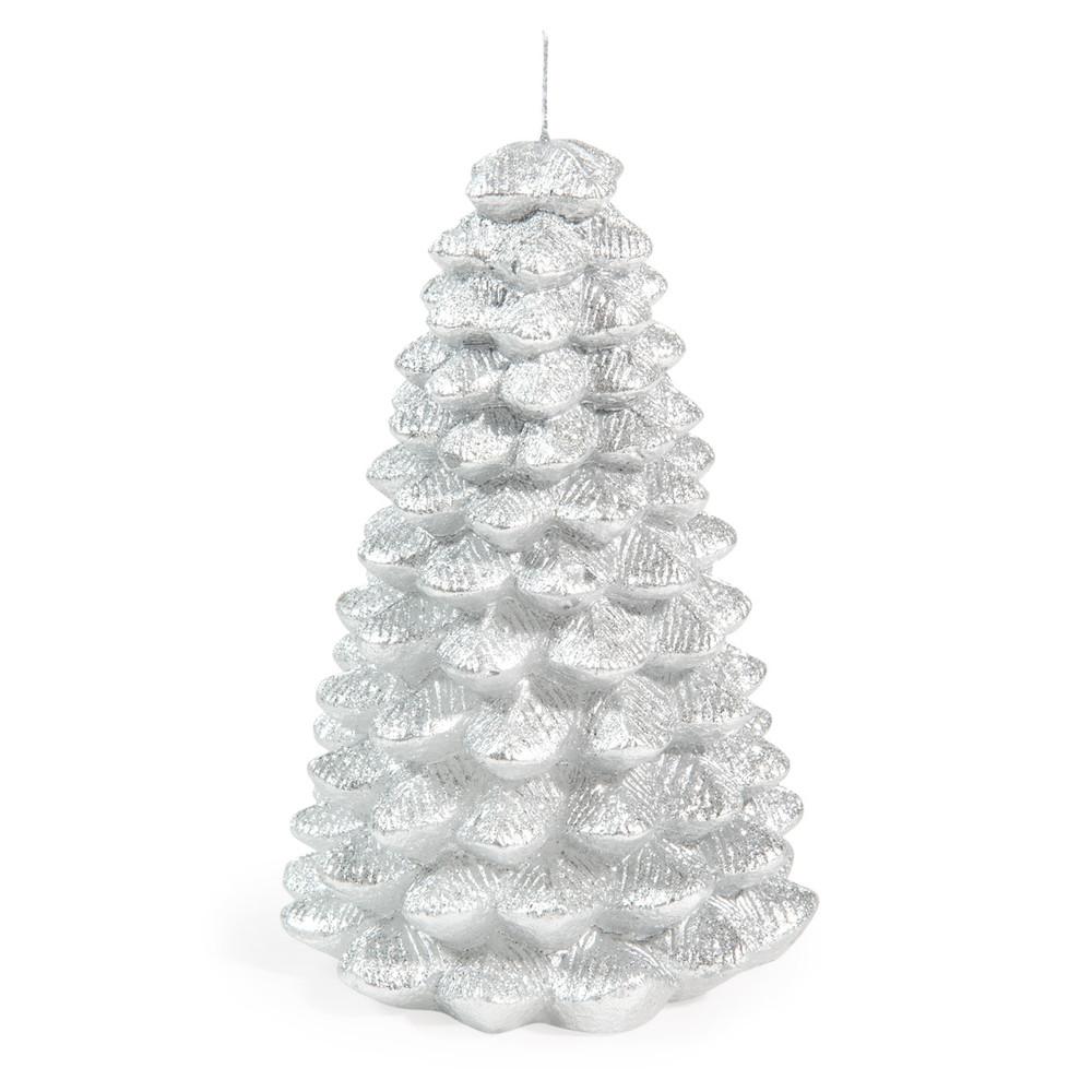 Silberne Tannenbaum-Weihnachtskerze