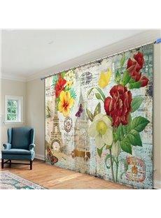 Retro Romantic Paris 3D Printing Polyester Curtain