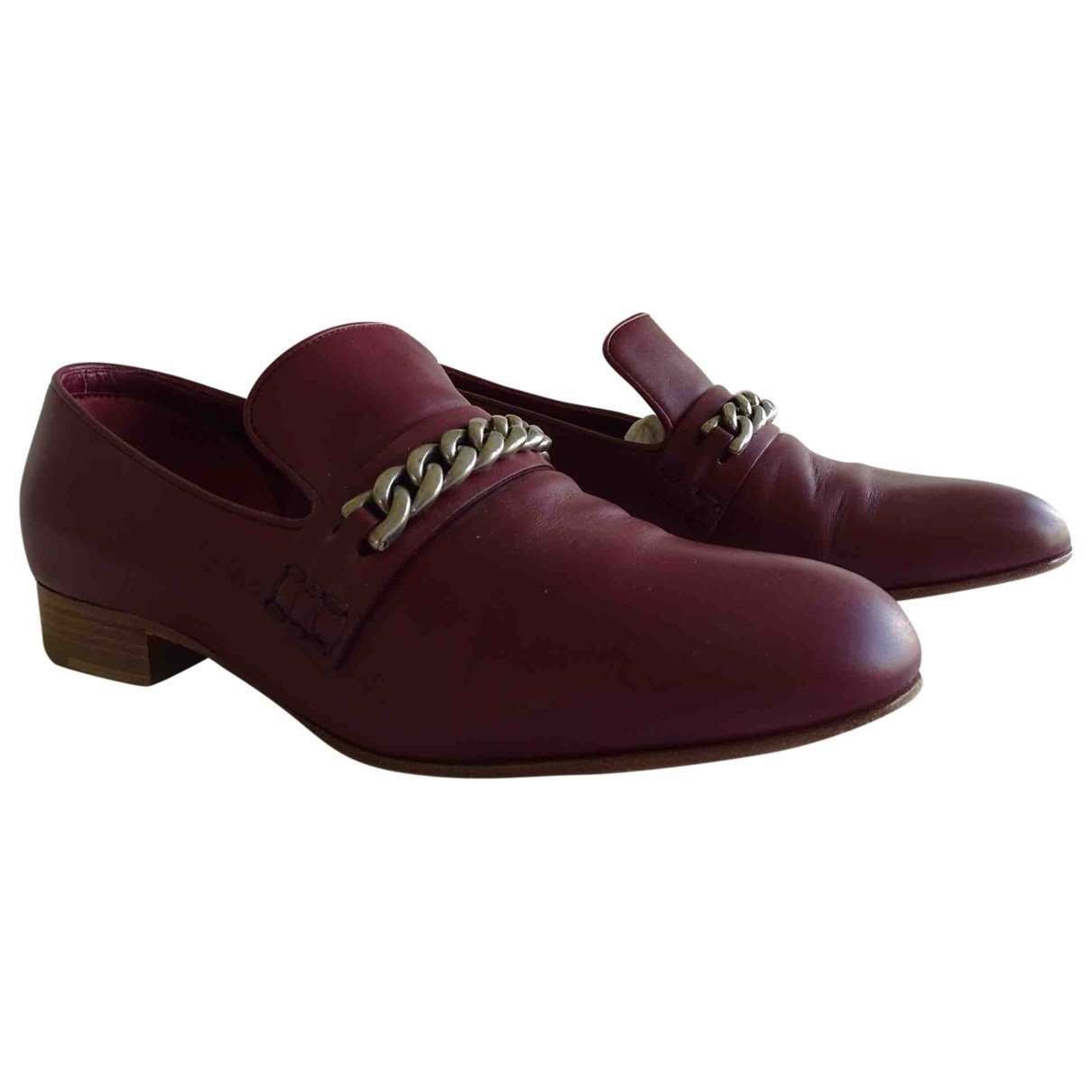 Celine \N Burgundy Leather Flats for Women 37 EU