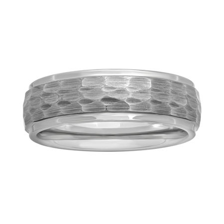 Mens Tungsten Carbide Hammered Wedding Band, 12 1/2 , White