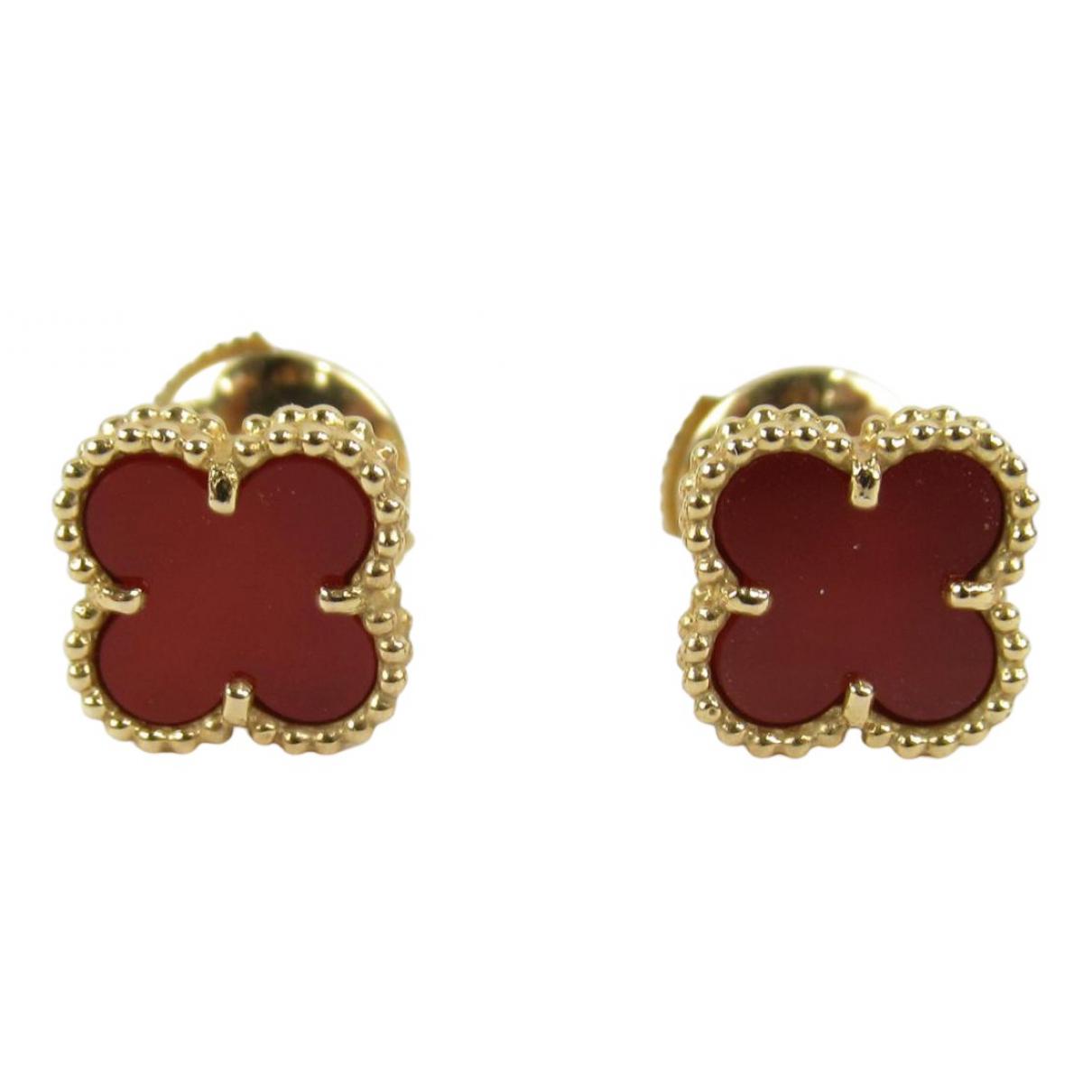 Van Cleef & Arpels - Boucles doreilles Vintage Alhambra pour femme en or jaune - rouge