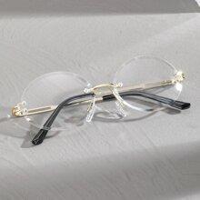 Maenner randlose Brille mit ovalen Linsen
