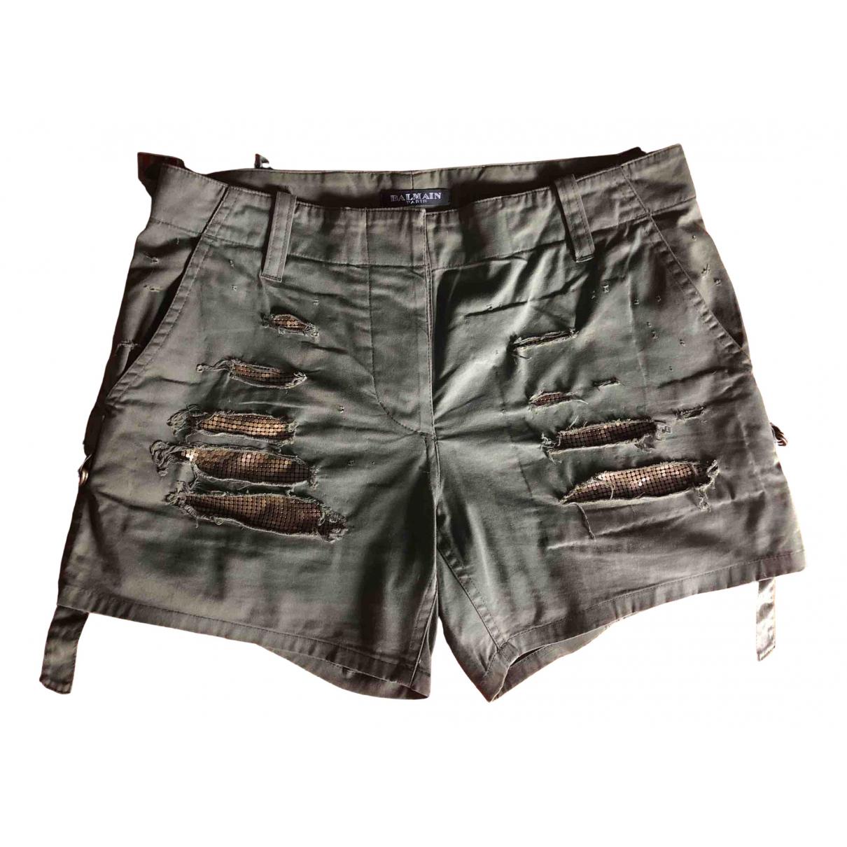 Balmain \N Shorts in  Khaki Baumwolle