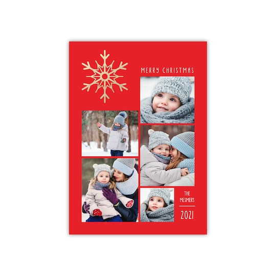 20 Pack of Gartner Studios® Personalized Shimmering Snowflakes Flat Foil Holiday Photo Card in Red   5