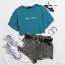 Camiseta corta con bordado de letra