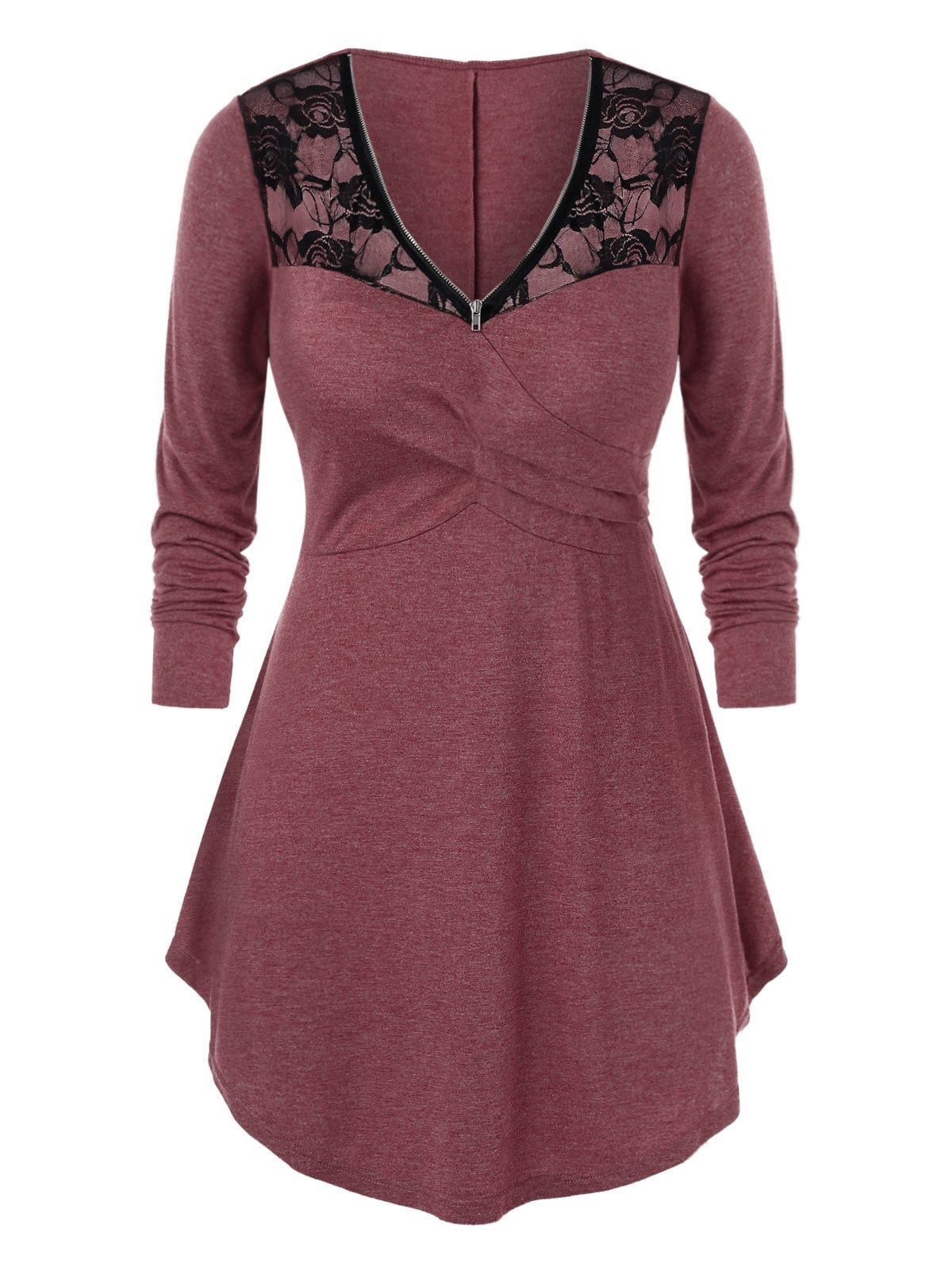 Plus Size Lace Panel Sheer Zip Curved Tunic Tee