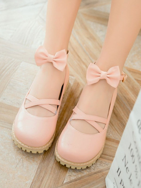 Milanoo Sweet Lolita Footwear Bows Round Toe Criss Cross Lolita Shoes