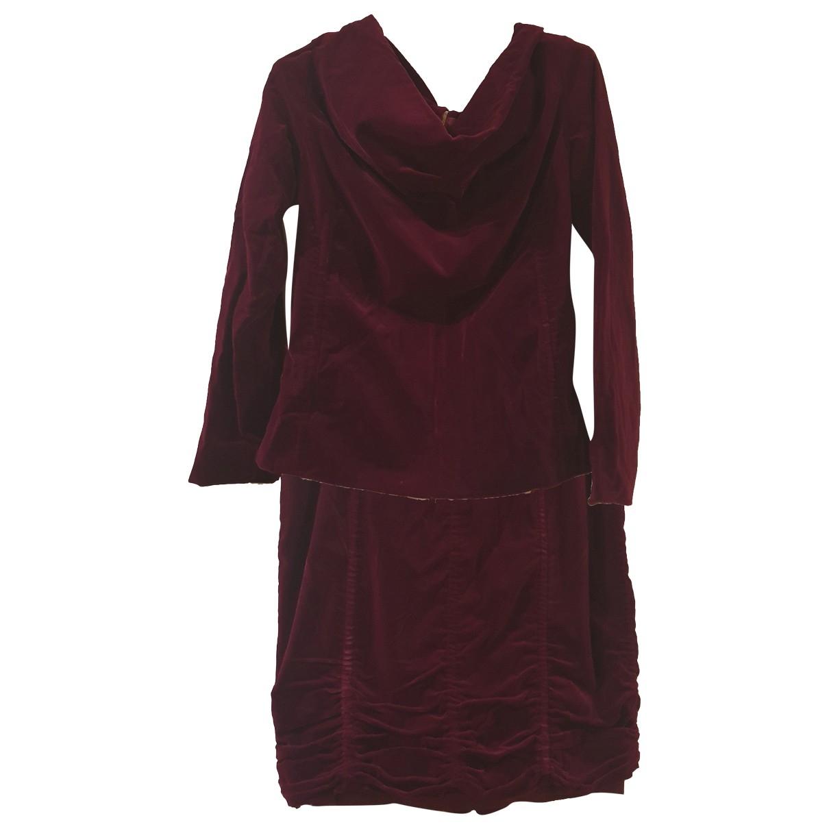 Louis Vuitton - Robe   pour femme en velours - bordeaux