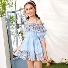 Girls Cold Shoulder Frill Trim Shirred Swiss Dot Floral Print Dress