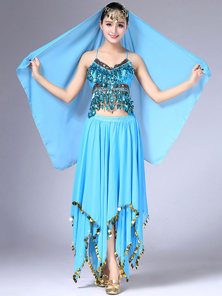 Milanoo Belly Dance Costume Outfit Women Chiffon Skirt Top And Veil Bollywood Dancing Wear