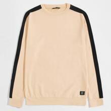 Pullover mit Flicken Detail und Kontrast Einsatz