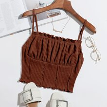 Frill Trim Ruched Front Rib-knit Cami Top