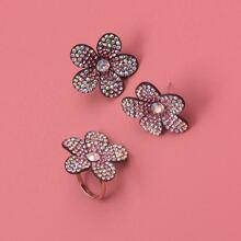 1pair Rhinestone Flower Earrings & 1pc Ring