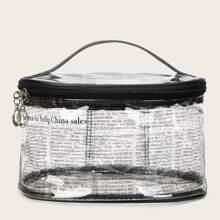 Transparente Makeup Tasche mit Buchstaben Muster