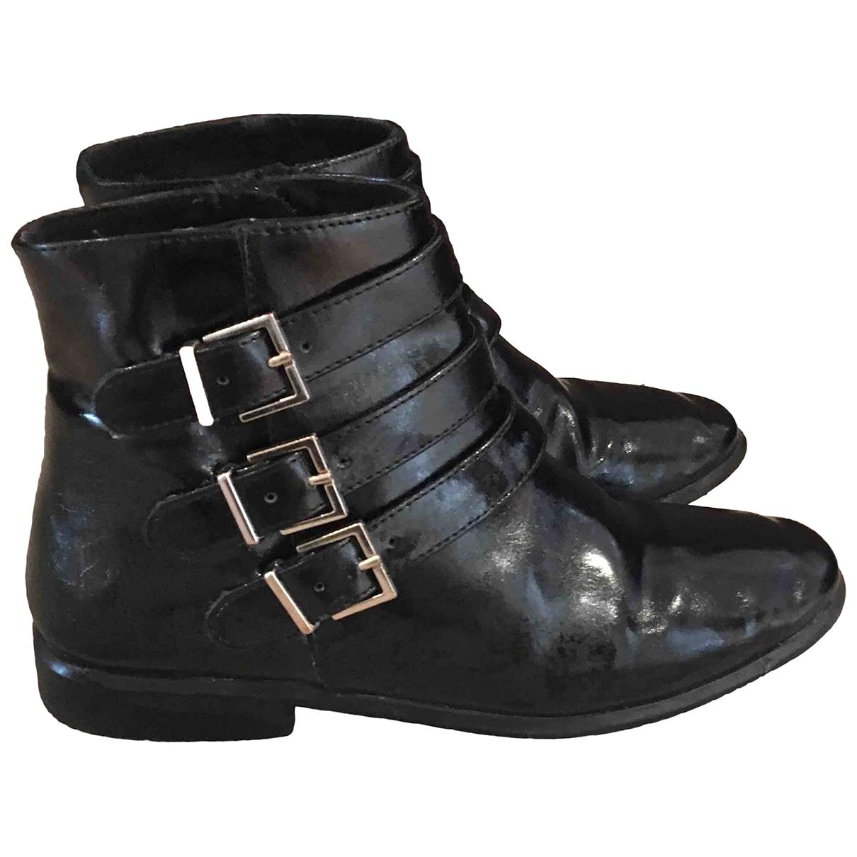 Zara \N Black Leather Boots for Kids 33 EU