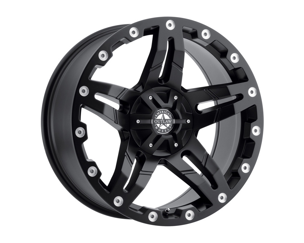 American Outlaw Wheels 125-7884B Revolver Satin Black Wheel 17x8.5 6x139.7 -10