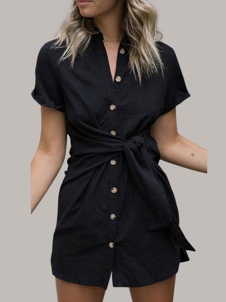 Milanoo Shirt Dresses Short Sleeves Cotton Knotted Midi Dress