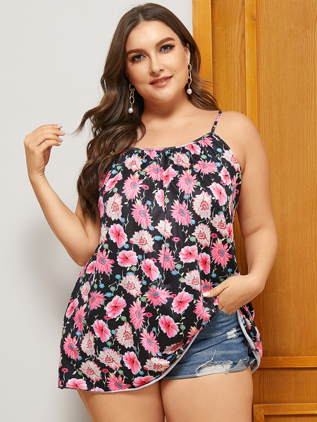 Yoins Plus Size Floral Print Pleated Design Sleeveless Cami