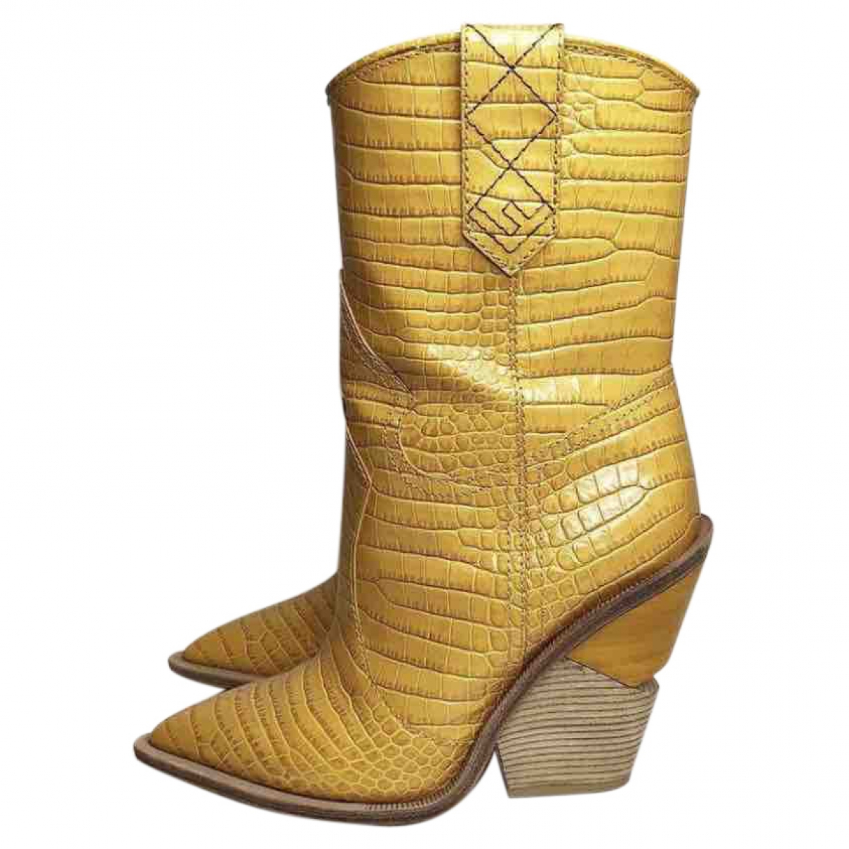 Fendi - Bottes Cowboy pour femme en cuir exotique - jaune