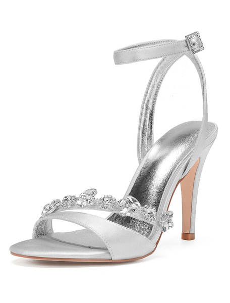 Milanoo Champagne Wedding Shoes Open Toe Rhinestone Ankle Strap Bridesmaid Shoes