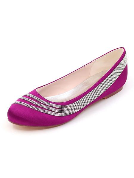Milanoo Zapatos de novia de saten Zapatos de Fiesta Plana Zapatos marfil  Zapatos de boda de puntera redonda con pedreria