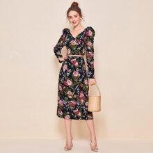 Surplice Neck Gigot Sleeve Floral Top & Skirt Set