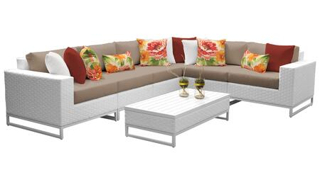 Miami MIAMI-07g-WHEAT 7-Piece Wicker Patio Furniture Set 07g with 1 Corner Chair  3 Armless Chairs  1 Coffee Table  1 Left Arm Chair and 1 Right Arm