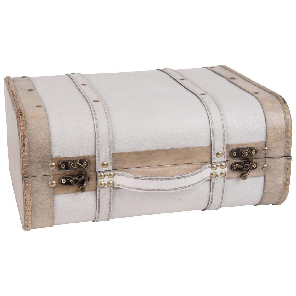 Vintage-Koffer, weiss mit goldenen Naegeln