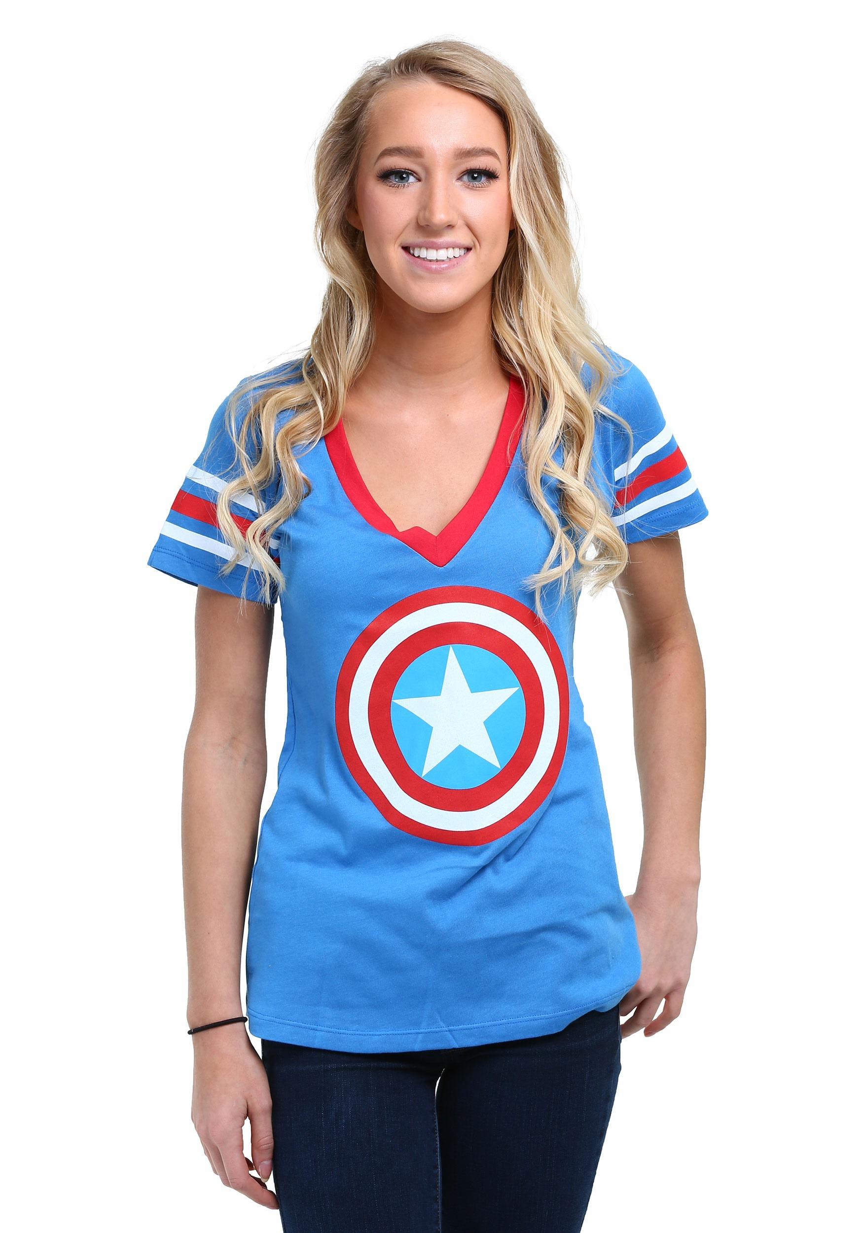 Ladies Captain America Logo T-Shirt